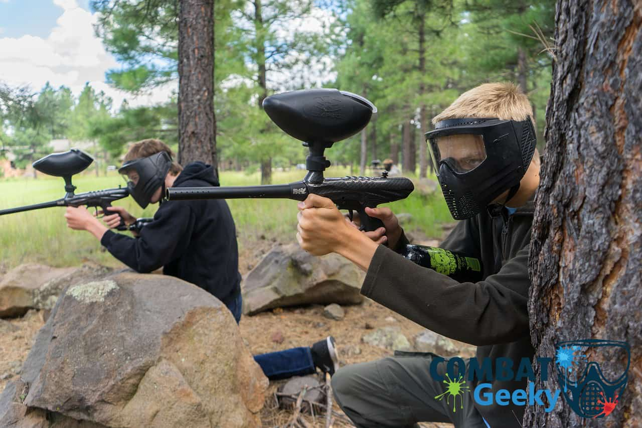 Paintball Player Holding markers outdoor